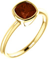 Cushion-Cut Garnet Gemstone Ring Bezel Set in 14K Yellow Gold