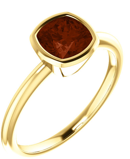 Cushion-Cut Garnet Gemstone Ring Bezel Set in 14K Yellow Gold