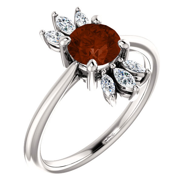 Diamond Marquise Garnet Ring in 14K White Gold