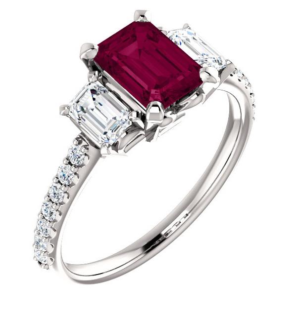 1.20 Carat Emerald-Cut Garnet 0.87 Carat Three Stone Diamond Ring