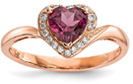 14K Rose Gold Garnet Diamond Heart Ring