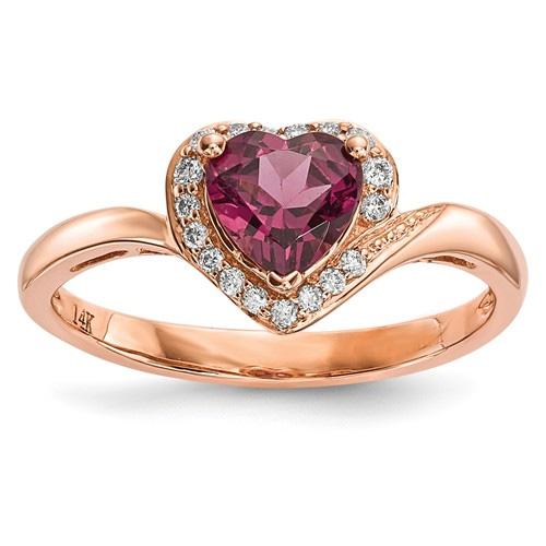 14K Rose Gold Garnet Diamond Heart Ring