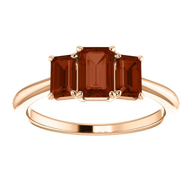 14K Rose Gold Three Stone Emerald Cut Garnet Ring