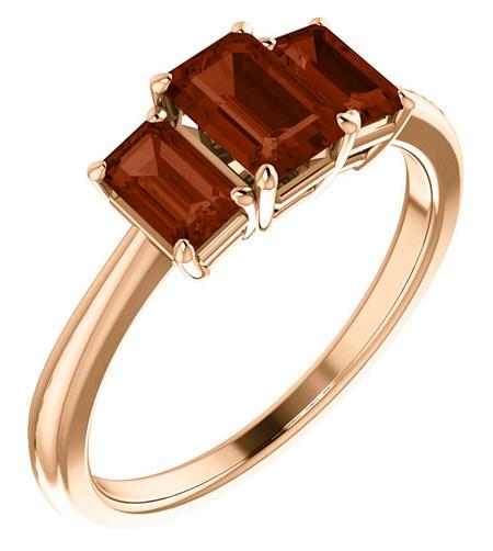 14K Rose Gold Three Stone Emerald-Cut Garnet Ring