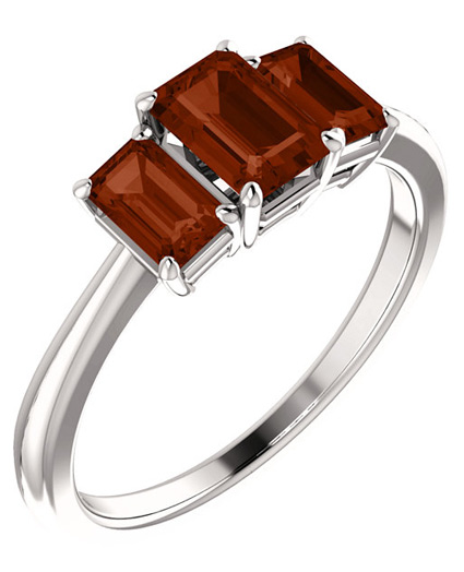 Three Stone Emerald-Cut Garnet Ring, 14K White Gold