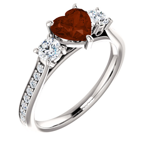 Three Stone Garnet Heart and Diamond Engagement or Anniversary Ring