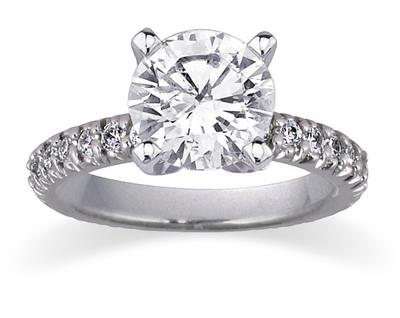 1.15 Carat Diamond Engagement Ring, 14K White Gold (Apples of Gold)