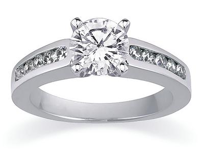 0.90 Carat Channel Set Diamond Egagement Ring, 14K White Gold