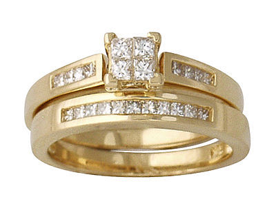 Princess Bridal Duo Set, 14K Yellow Gold (Apples of Gold)