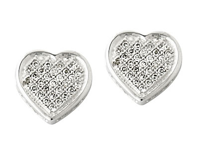 Buy Diamond Heart Milgraine Edge Earrings in White Gold
