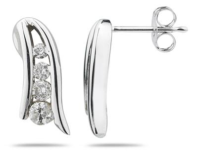 Diamond Journey Earrings in 14K White Gold