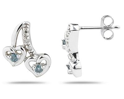 Buy Heart Shaped Blue and White Diamond Earrings in White Gold