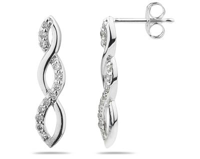 Buy Diamond Twist Earrings in 14K White Gold