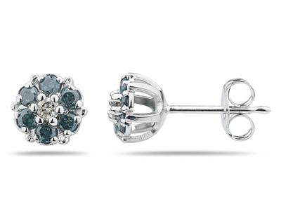 Buy Blue and White Diamond Flower Earrings in 14K White Gold