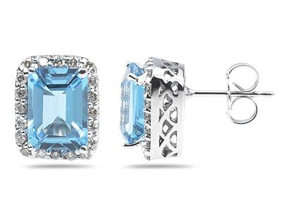 3.75 Carat Emerald Cut Blue Topaz and Diamond Earrings, 14K White Gold
