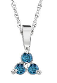 Blue Diamond Trinity Pendant, 14K White Gold (Pendants, Apples of Gold)