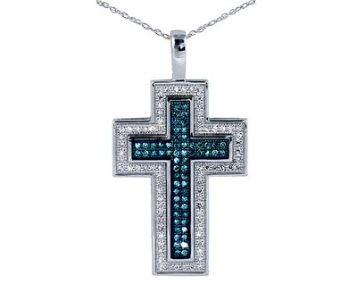 Carat blue and white diamond cross pendant 045 carat blue and white diamond cross pendant mozeypictures Choice Image