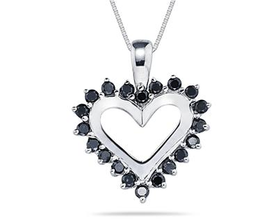 1/2 Carat Black Diamond Heart Pendant in 14K White Gold (Pendants, Apples of Gold)