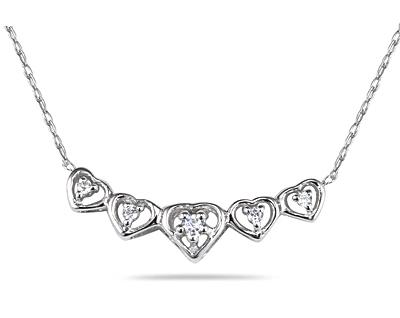 Buy Diamond Heart Link Necklace in 10K White Gold