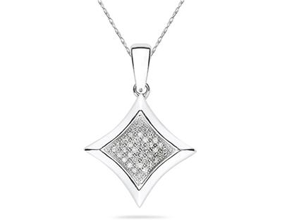 Buy Micro Pave Diamond Pendant in White Gold