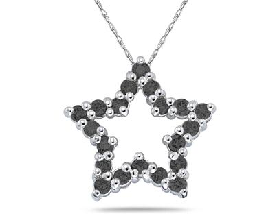 1/2 Carat Black Diamond Star Pendant in White Gold (Pendants, Apples of Gold)