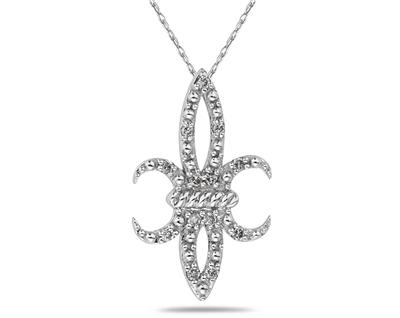 Buy Fleur-de-Lis Diamond Pendant in White Gold