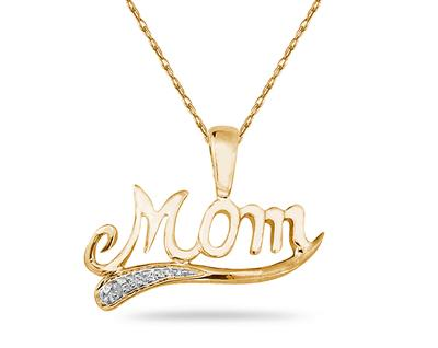 Yellow Gold and Diamond Mom Pendant (Pendants, Apples of Gold)