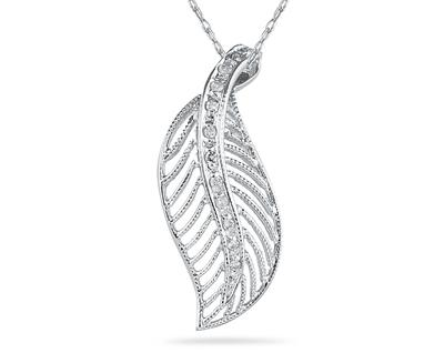 Buy Diamond Leaf Pendant, 14K White Gold