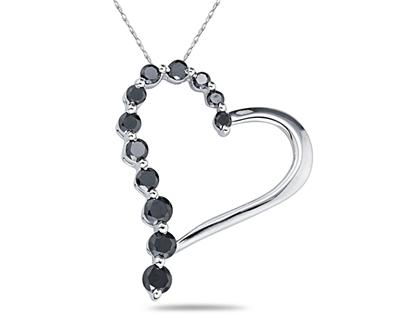1 Carat  Black Diamond Journey Heart Pendant