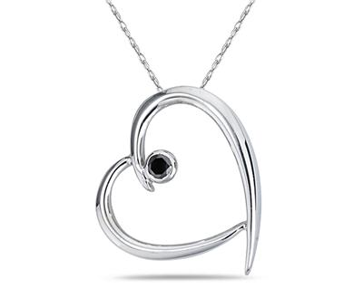 Buy Black Diamond Slide Heart Pendant in White Gold