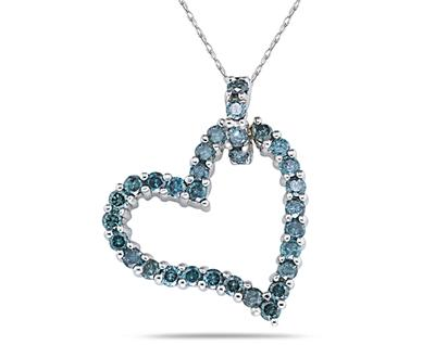 0.92 Carat Blue Diamond Heart Pendant in 14K White Gold