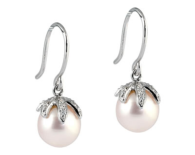 Natural Freshwater Round Pink Pearl & Diamond Drop Earrings in 14K White Gold