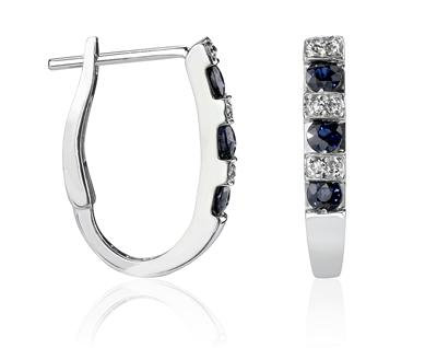 Buy Sapphire & Diamond Hoop Earrings in 14k White Gold