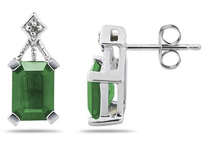 Buy 2.31 Carat Emerald and Diamond Earrings in 14K White Gold