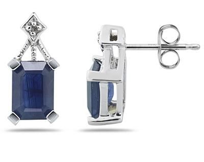 Buy 2.31 Carat Emerald-Cut Sapphire and Diamond Earrings in 14K White Gold