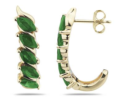 1.10 Carat 10 Stone Emerald Hoop Earrings