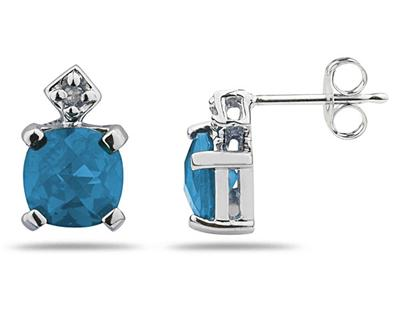 1.20 Carat Sky Blue Topaz and Diamond Earrings