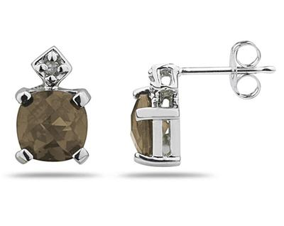1.20 Carat Smokey Quartz and Diamond Earrings