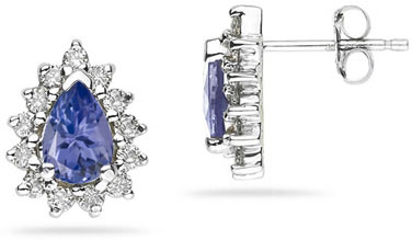 Buy 6mm x 4mm Pear Shaped Tanzanite and Diamond Flower Earrings in 14k White Gold