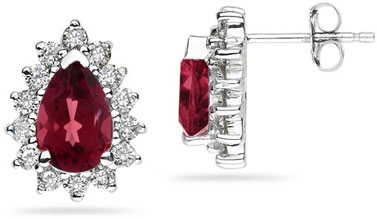 7mm x 5mm Pear Shaped Ruby and Diamond Flower Earrings in 14k White Gold