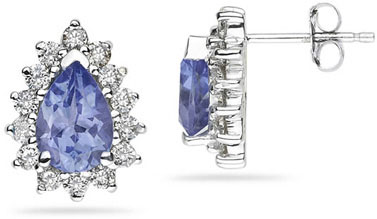 7mm x 5mm Pear Shaped Tanzanite and Diamond Flower Earrings in 14k White Gold