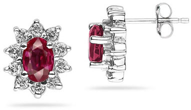 Buy 6mm x 4mm Oval Shaped Ruby and Diamond Flower Earrings in 14k White Gold