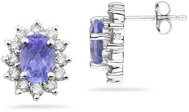 7mm x 5mm Oval Shaped Tanzanite and Diamond Flower Earrings in 14k White Gold