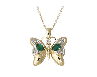 Emerald and Diamond Butterfly Pendant 14K Yellow Gold (Pendants, Apples of Gold)