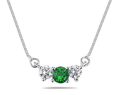Buy Emerald and Diamond Three Stone Necklace in 14K White Gold