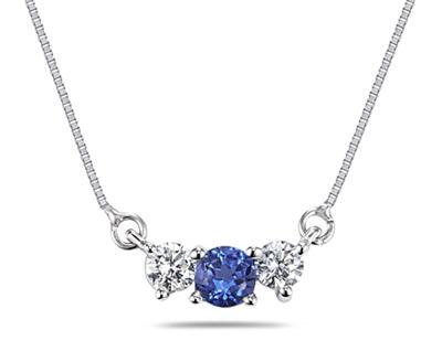Sapphire and Diamond Three Stone Necklace in 14K White Gold