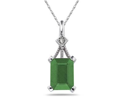 Emerald Cut Emerald and Diamond Pendant, 14K White Gold