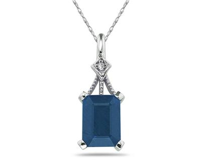 Emerald Cut Sapphire and Diamond Pendant, 14K White Gold