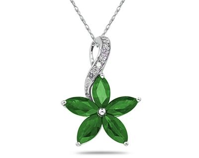 Emerald and Diamond Flower Pendant in 10K White Gold