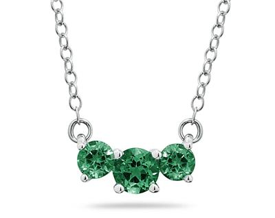 1 Carat Three Stone Emerald Necklace, 14K White Gold (Pendants, Apples of Gold)